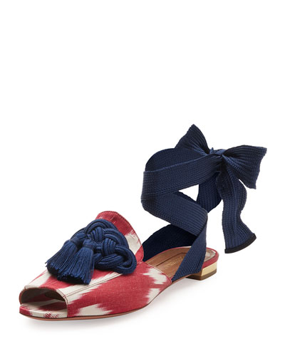 Legend Ikat Ankle-Wrap Flat, Red