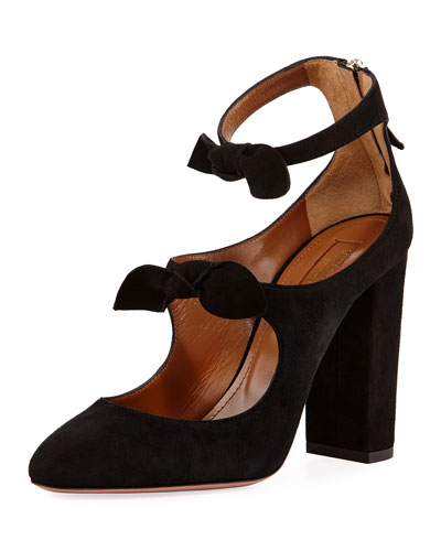 Sandy Suede Block-Heel Bow Pump, Black