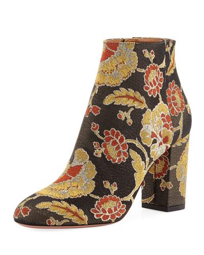 Brooklyn Rose Jacquard Boot, Black