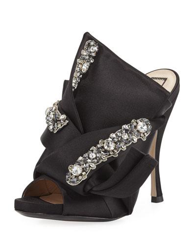 Jeweled Satin 100mm Mule Sandal