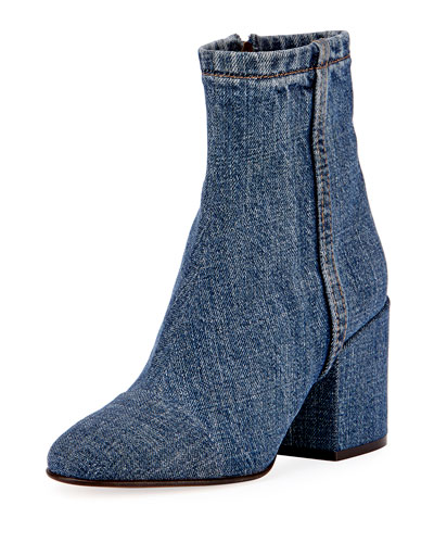 Denim Block-Heel Ankle Boot, Blue