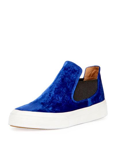 Velvet Slip-On Sneaker, Blue