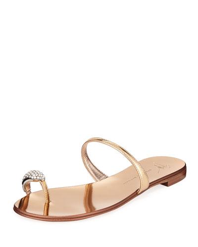 Crystal-Embellished Flat Toe-Ring Sandals