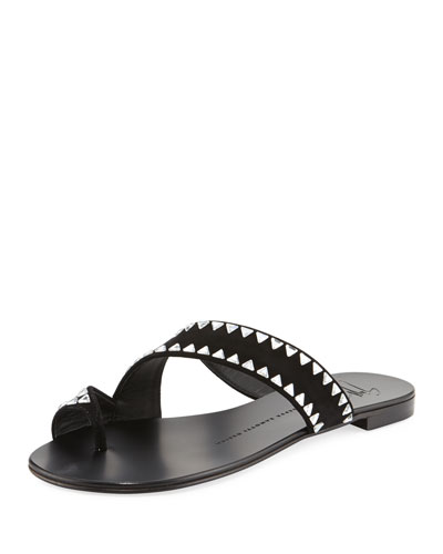 Studded Asymmetric Suede Flat Toe-Ring Sandal