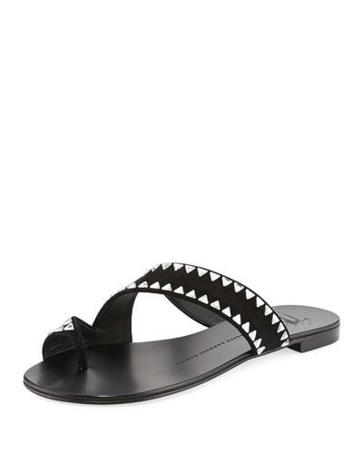 Studded Asymmetric Suede Flat Toe-Ring Sandal