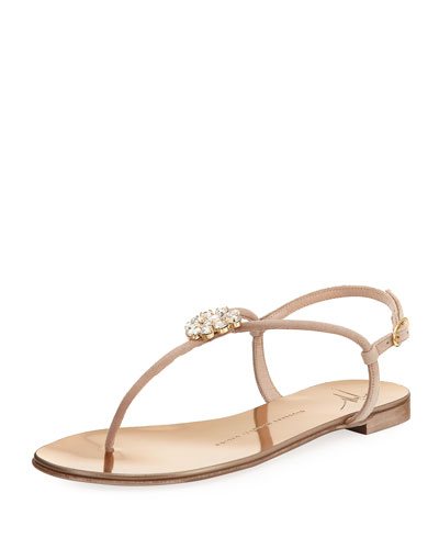 Crystal-Embellished Flat Thong Sandal, Blush