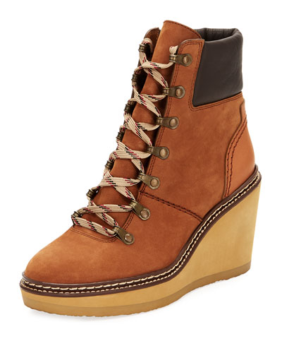 Lace-Up Leather Hiker Wedge Boot, Medium Brown