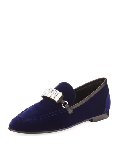 Velvet Crystal-Trim Loafer, Navy