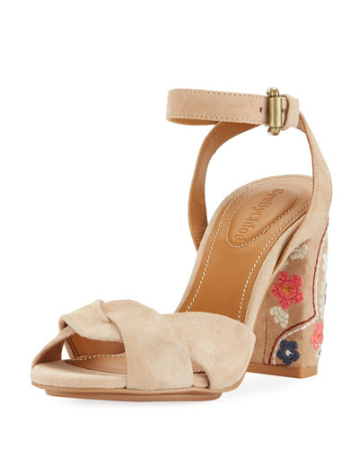 Embroidered Block-Heel Suede Sandal
