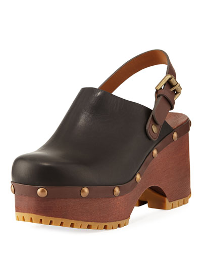 Platform Leather Clog, Black