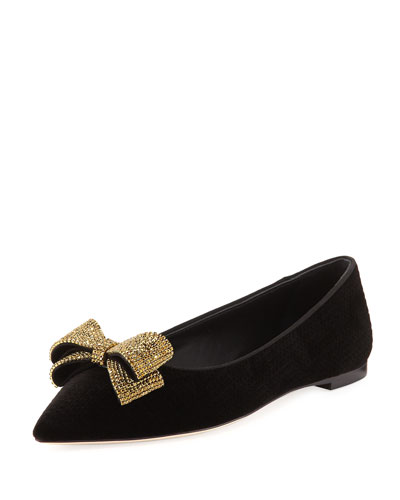 Velvet Crystal-Bow Flat, Black