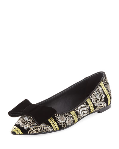 Embroidered Velvet Point-Toe Flat, Multi