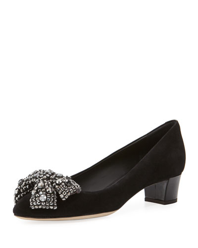 Velvet Crystal-Bow Low-Heel Pump