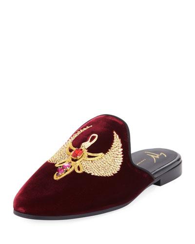 Crest-Embroidered Velvet Mule Slide, Red