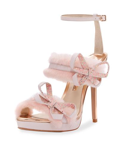 Faux-Fur Ankle-Wrap Sandal, Pink