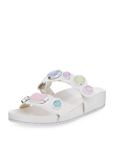 Cabochon-Studded Two-Band Slide Sandal, White