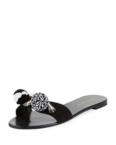 Jada One-Band Pompom Flat Slide Sandal, Black