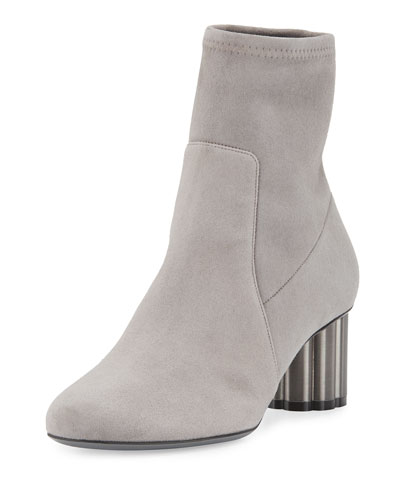 Suede Midi Ankle Boot, Gray