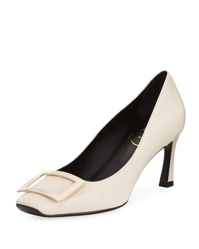 Belle Vivier Trompette Leather 70mm Pumps, Off White