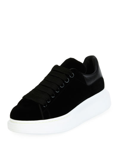 Velvet Low-Top Wedge Sneaker, Black