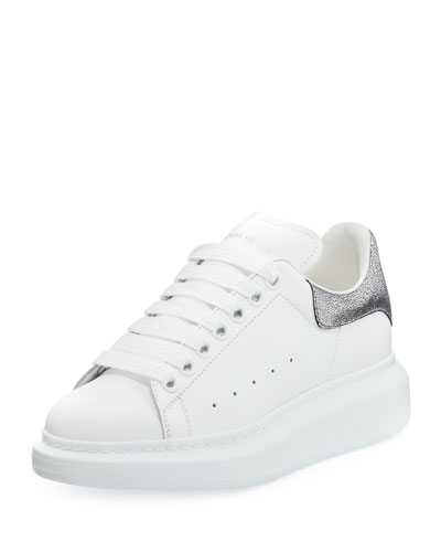 Lace-Up Low-Top Wedge Sneaker, White/Gray