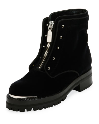 Flat Velvet Zip Combat Boot, Black
