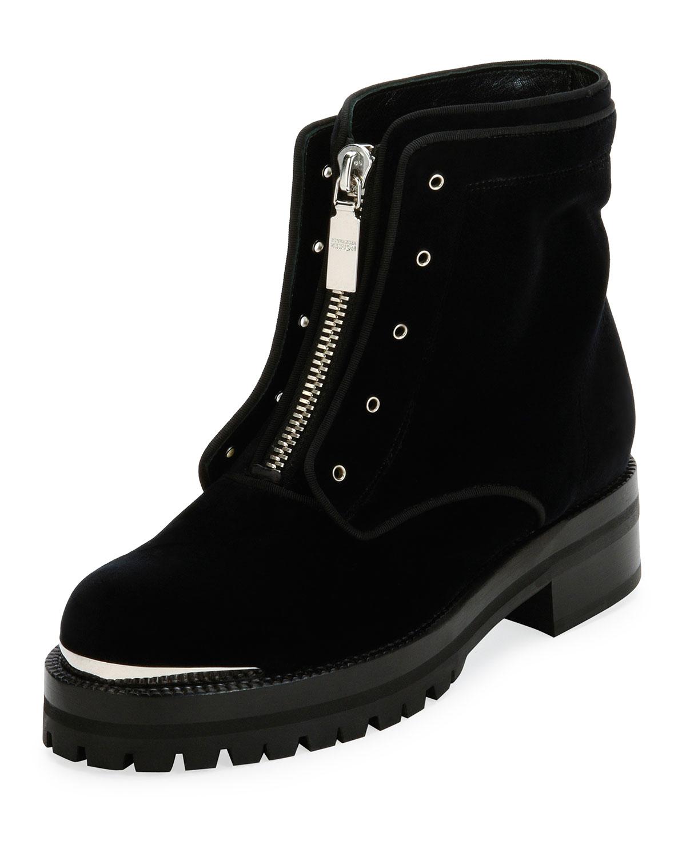 Flat Velvet Zip Combat Boot, Black