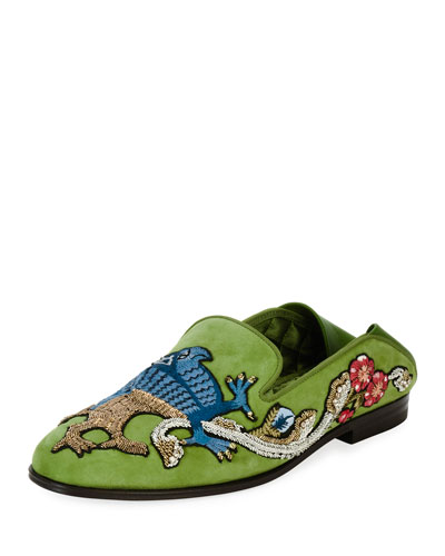 Embroidered Suede Fold-Down Loafer, Green