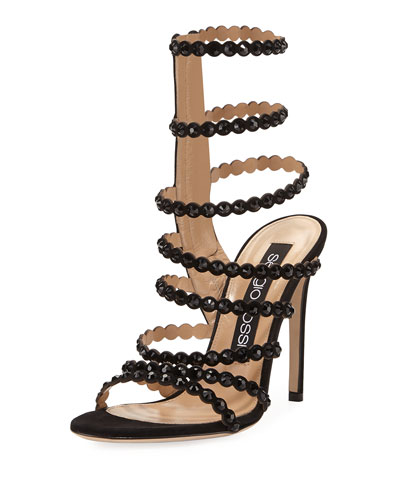 Studded Suede Side-Zip Sandal, Black