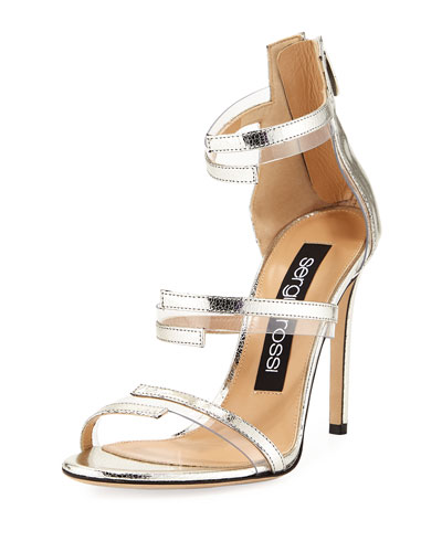 Metallic Leather & PVC Sandal, Gray