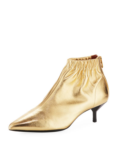 Blitz Ruched Leather Bootie, Gold