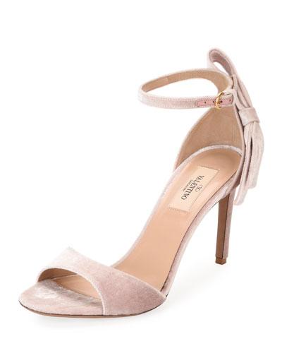 Velvet Bow-Heel Sandal, Pink