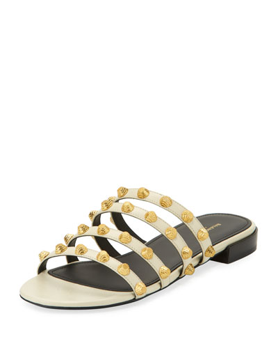 Studded Leather Slide Flat Sandal