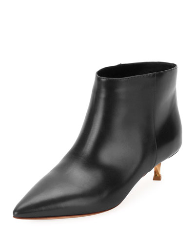 Leather Point-Toe 40mm Bootie, Black