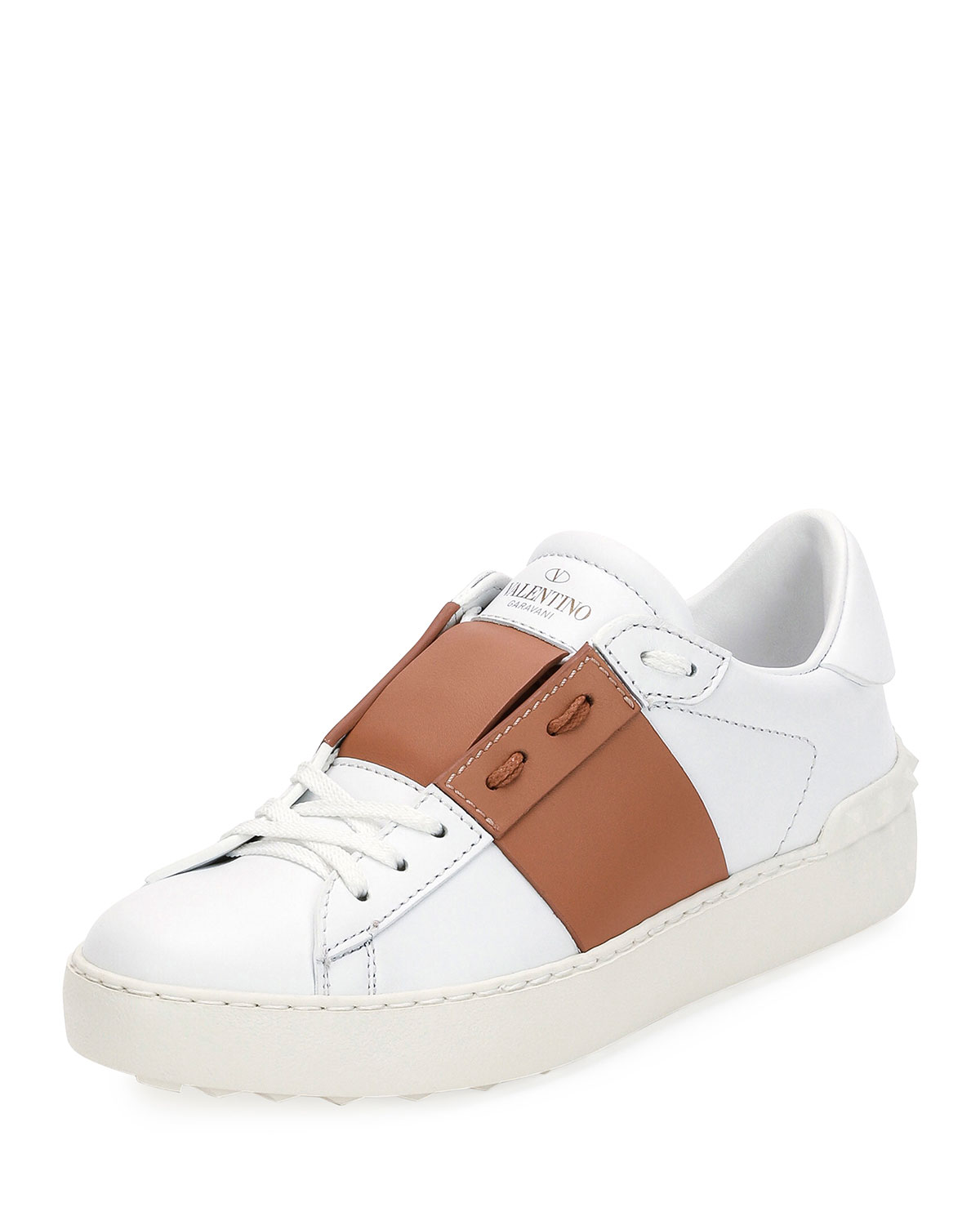 Colorblock Leather Low-Top Sneaker, Flesh