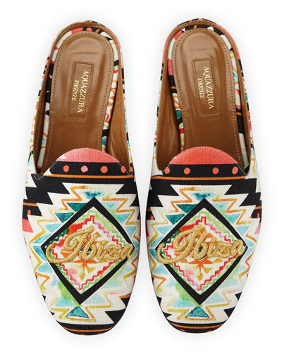 Ibiza Printed Satin Mule Loafer, Multi