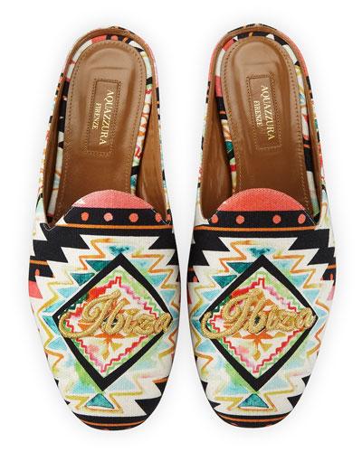 Ibiza Printed Satin Mule Loafer, Multi