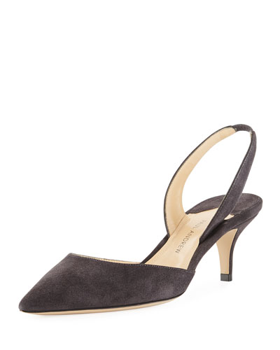 Rhea 55mm Suede Slingback Pump, Gray