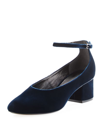 Kairo Velvet Ankle-Strap Pump, Dark Blue