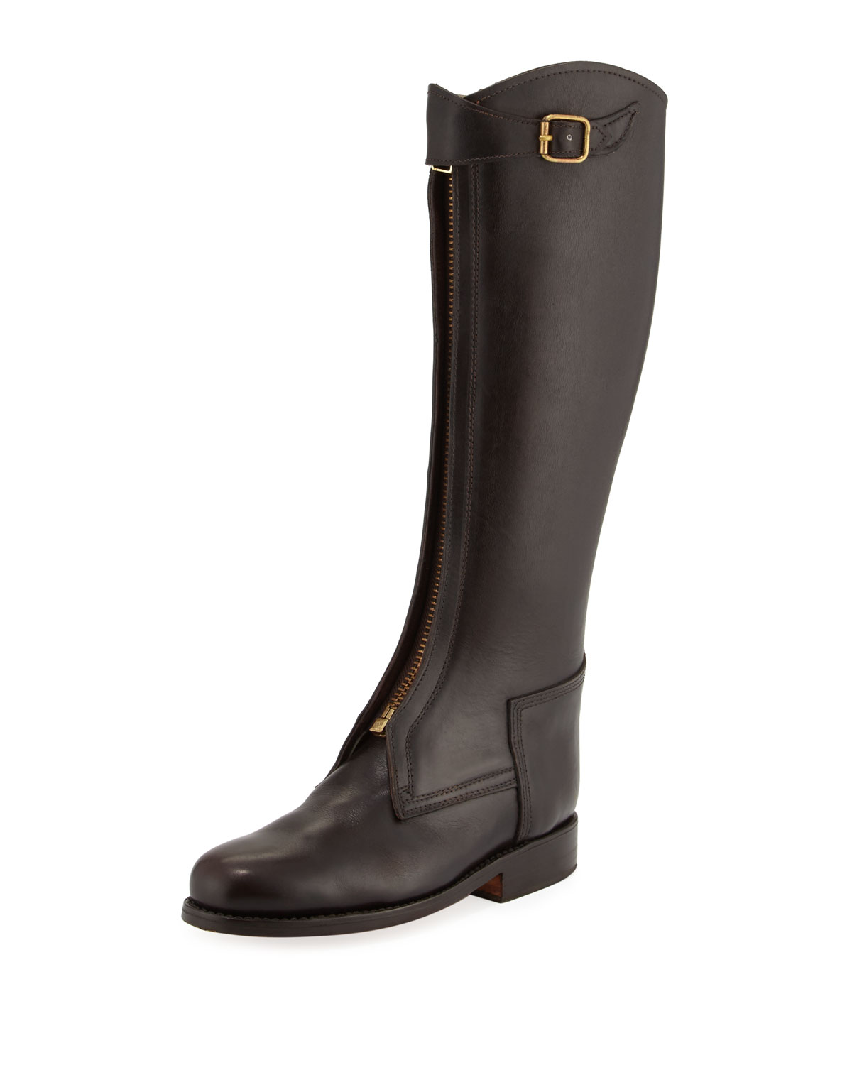 Zip-Front Leather Riding Boot, Brown