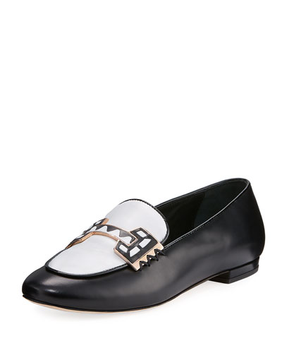 Sam Two-Tone Leather Loafer, Black/White