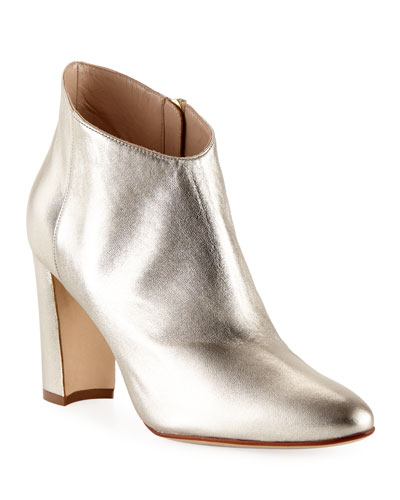 Brusta Metallic Leather Bootie, Gold