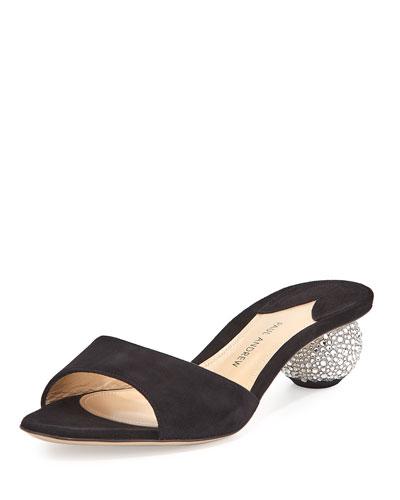 Arco Suede Crystal-Heel Slide Sandal, Black
