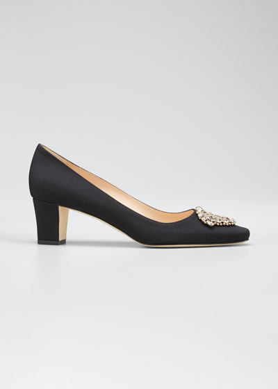 Okkato Low-Heel Crepe Pumps, Black