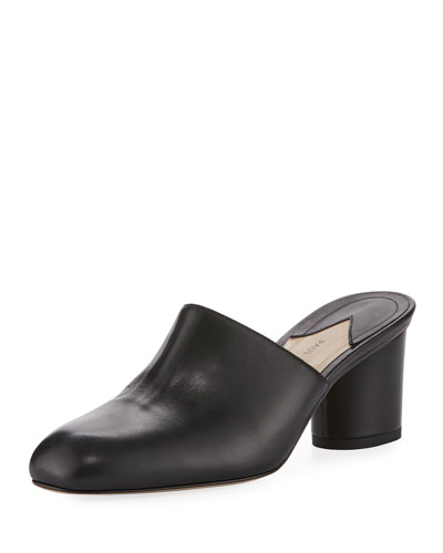 Roma Leather Mule Pump, Black