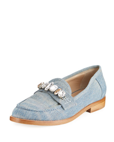 Jewel-Embellished Denim Loafer, Blue