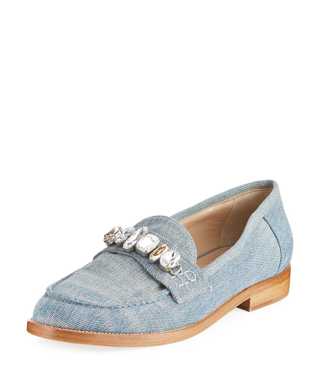 Jewel-Embellished Denim Loafer, Blue