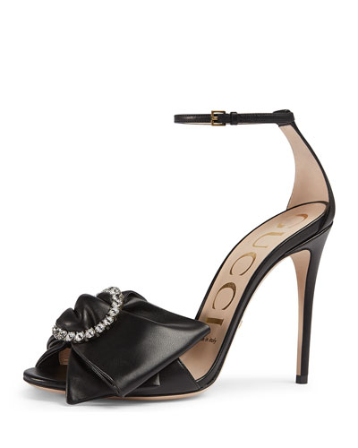 Ilse Pleated Leather Bow Sandal, Black