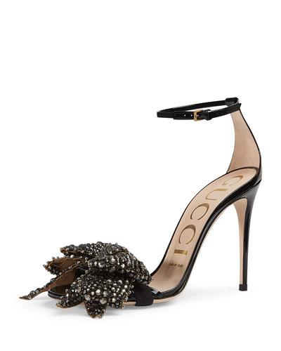 Ilse Bow-Embellished Leather Sandal, Black
