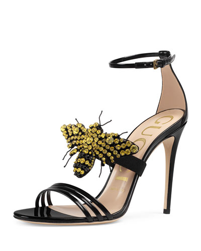 Ilse Bee-Embellished Leather Sandal, Black